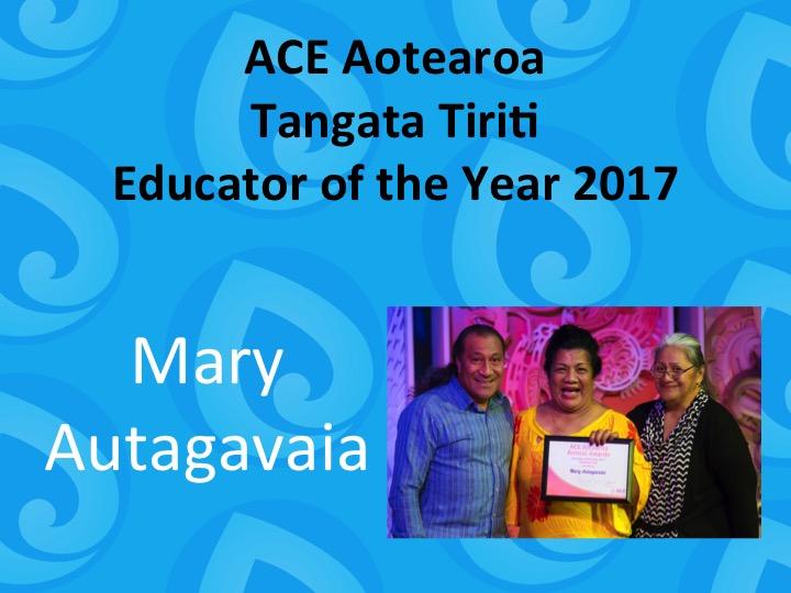 Tangata Tiriti Educator of the Year 2017 Mary Autagavaia