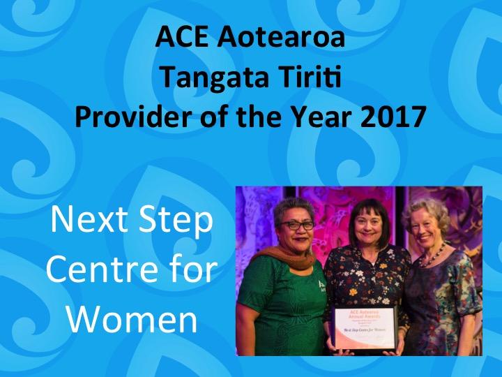 Tangata Tiriti Provider of the Year 2017 Next Step Centre of Women